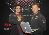 David Weeks receives his MacBook Pro from AC-ET's Jonathan Walters